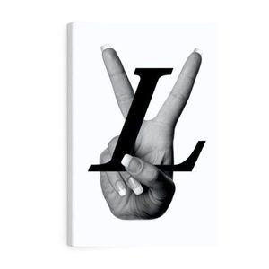 White LV Logo Canvas Print Art with Frame